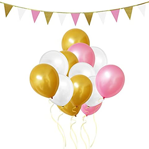 106 Piece Gold, White & Pink Latex Party Balloons and Banner Decorations Set by Belle Vous - For Birthday, Kids Parties, Baby Showers, Graduation and Wedding Celebrations - Bulk Decoration Supplies