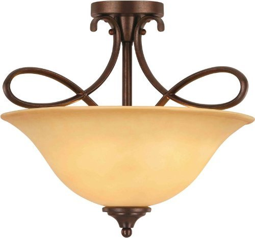 Hardware House 10-0892 Bennington 3-Light Semi-Flush Ceiling Fixture, Antique Bronze by Hardware House (Antique Bronze Semi Flush)
