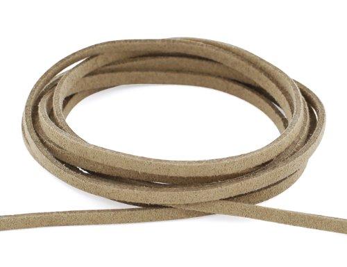 AURORIS - Weiches flaches Band aus Wildlederimitat 3mm - Länge / Farbe wählbar - Variante: 2m / hellbraun -