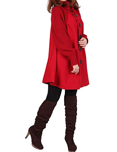 Youlee Femmes Grand Ourlet Laine Manteau Maternité Vêtements Rouge Velours