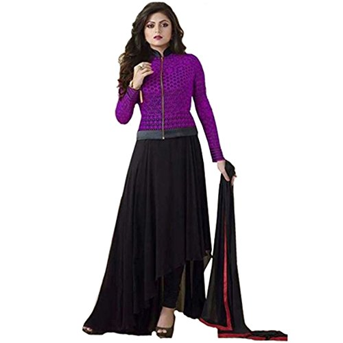 Bollywood Drashti Dhami Georgette and Net Party Wear Anarkali Suit In Purple and Black Colour  available at amazon for Rs.1174