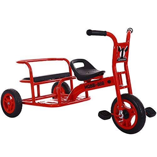 SHARESUN Kinder-Dreirad, PVC-Rad mit hohem Kohlenstoffstahlanteil. Kinder-Tretfahrrad Ride on Trike, 3-Rad-Fahrrad für Kleinkinder, Doppelsitz,Red