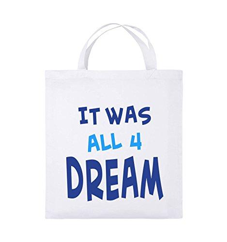 Comedy Bags - It was all four dream - KLEINE ZAHL - Jutebeutel - kurze Henkel - 38x42cm - Farbe: Schwarz / Weiss-Neongrün Weiss / Royalblau-Hellblau
