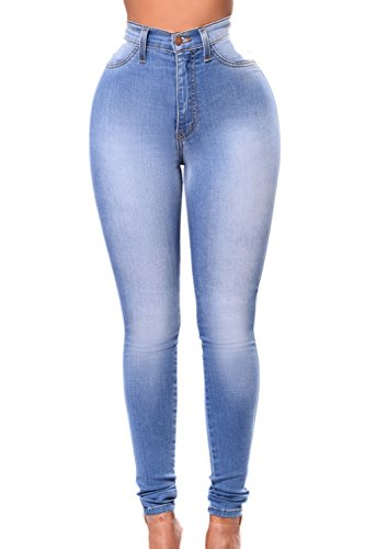 Le Donne Si Alta Vita Slim Elastico Scappando Pantaloni Jeans Normali Pantaloni DeepBlue