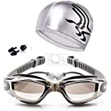 Swimming Kit Eye goggles Anti fog With head cap ear and nose plug Silver