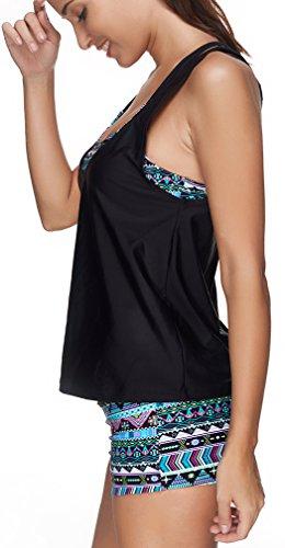 Bettydom Damen Tribal Print Tankini mit 3 Badeanzug Yoga Laufen Sport Top Bikini Set 2 Blau