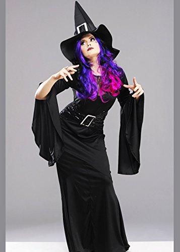 Hexe Kostüm Glam - Womens Long Black Glam Hexe Kostüm S/M (UK 8-10)