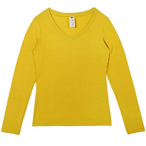 Godsen Damen Dünn Thermo Unterwäsche Set V-Ausschnitt Stretch Hemd und Hose Gelb