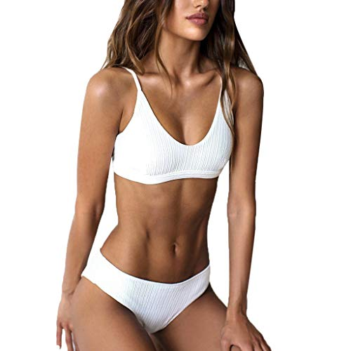 Happy-day Damen Crop Top High Waisted Cheeky Bikini Set Zweiteilige Badeanzüge Übergröße Bademode Gr. L, weiß High-waisted Crop