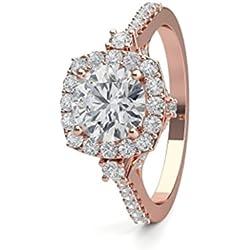 18K Rosa Oro 4Prong Setting lado Diamond Halo Compromiso Anillo de boda tamaño–5,5