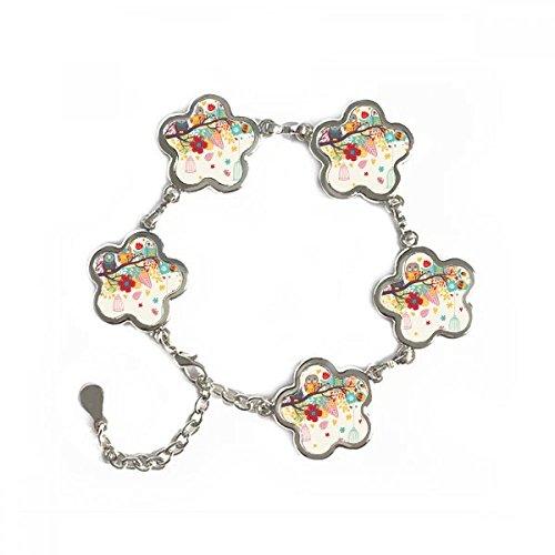 DIYthinker Illustration Tiere Zweige Blumen Eulen Form Metall Armband Kette Geschenke Schmuck mit Kette Dekoration