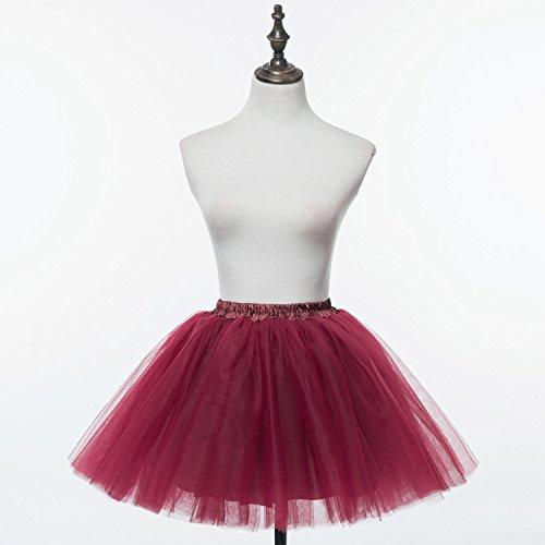 Honeystore Damen's Mini Tutu Ballett Mehrschichtige Rüschen Unterkleid Burgund
