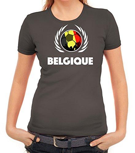 ShirtStreet Belgium Belgique Soccer Fussball WM Fanfest Gruppen Fan Wappen Damen T-Shirt Fußball Belgien Dunkelgrau