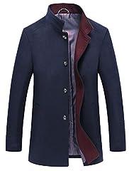 Idea Regalo - Mallimoda Uomo Cappotto Giacca Manica Lunga Slim Fit Caloroso Outwear Cappotti Invernale di Lana Marina Militare S