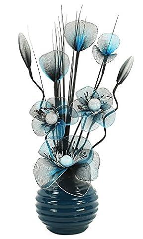 Flourish–723224–813Petit vase en turquoise/noir fleurs artificielles en nylon avec vase, décoration, maison Accessorie, 32cm, Bleu