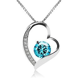 J.Vénus Kette Damen Halskette mit Herz Anhänger 925 Sterling Silber Zirkonia 45cm, Schmuck mit Etui (ewige Liebe - blau)