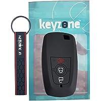 KEYZONE Black Silicone Key Cover & Keyring Combo for Ford Smart Key