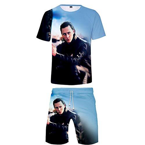 LZHWY T-Shirt Pantaloncini Pigiama 3D Animazione HD Maglietta Print di Cinema Unisex Set Costume novità The Avengers Loki XS