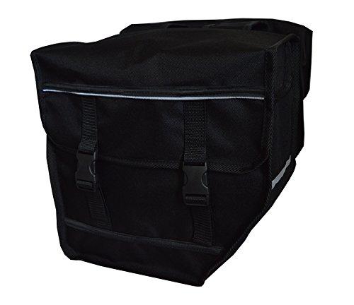 FAHRRADTASCHE Erwachsene Satteltasche Gepäckträgetasche Doppel 2x15l / Einzelne 1x15l 24. Duo - Schwarz