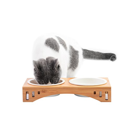 Petacc Comedero Gatos Tazón Elevado Mascotas Combinado