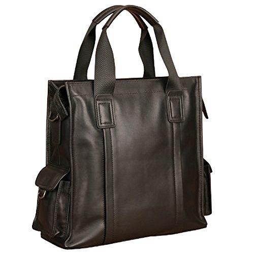 Oneworld Herren Rindleder Messenger Bag Aktentasche Schultertasche Notebooktasche Handtasche Umhängetasche Schultasche 29x30x11cm(BxHxT) Dunkel Blau Schwarz