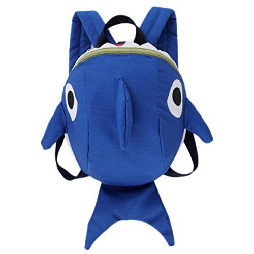 Mochilas Infantiles, 2 a 6 años Niños Niña 3D Tiburón Animal Mochilas Colegio Bolso para Guardería Primaria (Azul)