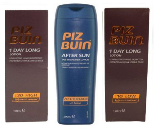 Piz Buin 1 Day Long Trio  Sun Lotion Spf10 And Spf30 100Ml Each  & Tan Intensifier Aftersun 200Ml