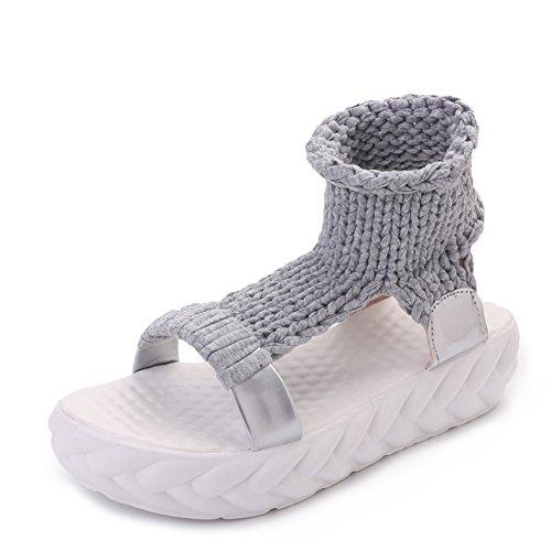 summer chaussures occasionnelles avec des semelles épaisses/Bottes fraîches en couleur solide open-toe A
