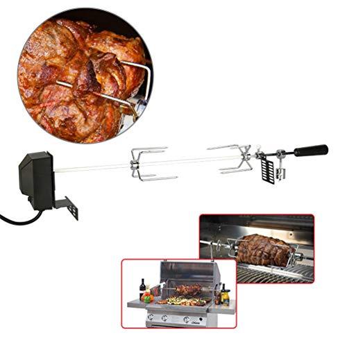 Kit girarrosto per griglia, set per griglia girevole all'aperto kit girarrosto elettrico con motore universale in acciaio inossidabile