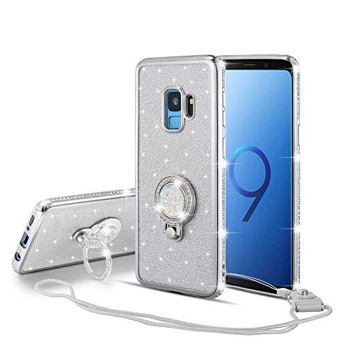 UEEBAI Hülle für Samsung Galaxy A70,Glitter Etui Eingelegten Diamond Soft TPU Handyhülle Drehbare Strass Ring 360 Grad Ständer Ultra Dünn Schutzhülle Mädchen Frauen Umhängeband - Silber - Finger-ring Lichter