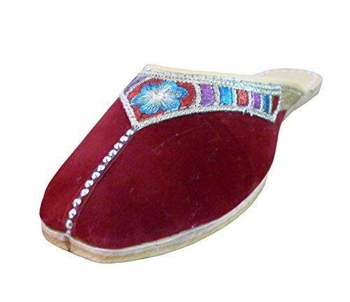 kalra Creations Mujer Tradicional Indio Terciopelo mojari Mocasines Piel Pisos, color Morado, talla 37 EU M