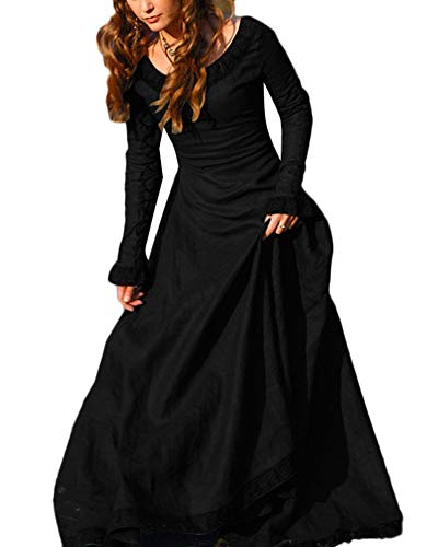 Damen Mittelalterkleid Viktorianisches Kleid Renaissance Langarm Abendkleider Maxikleid Schwarz XL