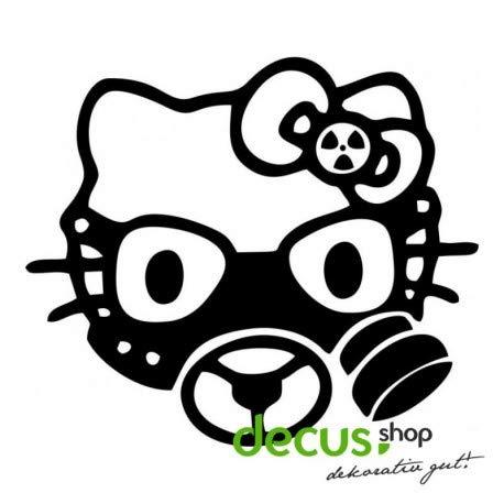 Decus Hello Kitty Gasmask L 1957 // Sticker OEM JDM Style Aufkleber (weiß) (Hello Kitty Auto Aufkleber Zubehör)