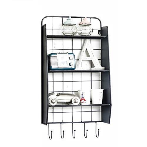 Wall Korb (JCNFA Schwimmende Regale Hängender Korb Wire Wall Grid LOFT Industrienostalgie Vintage Schmiedeeisen Rack 5 Haken Lagerung (Color : Black, Size : 15.74 * 8.66 * 29.52in))