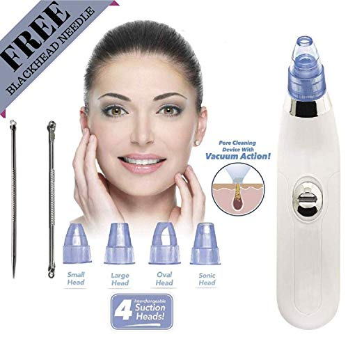 ASHU VENTURES 4 in 1 Multi-function Blackhead Whitehead Extractor Remover Device - Acne facial Pore Cleaner Vacuum Suction Tool For Men And Women