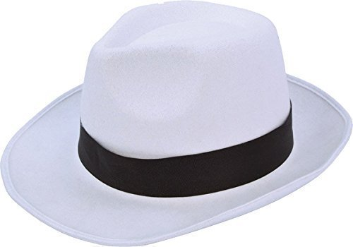 1920er Flapper Gangsterbraut Ausgefallen Party Weiß Gangster Hut Mit Schwarz Band (Flapper-hut Jahren 1920er)