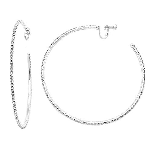 Schmuckanthony NEU Leichte Feine Große Übergroße Ohrclips Clips Klips Kreolen Creolen Clip On Hoop Earrings Silber Ohrringe Kristall Klar Transparent 9,5 cm Durch