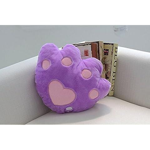 Colourful World colorido de la música almohadilla luminosa del oso de peluche de juguete pies pata de simulación de dibujos animados cojín del sofá amortiguador del coche a casa (Púrpura)