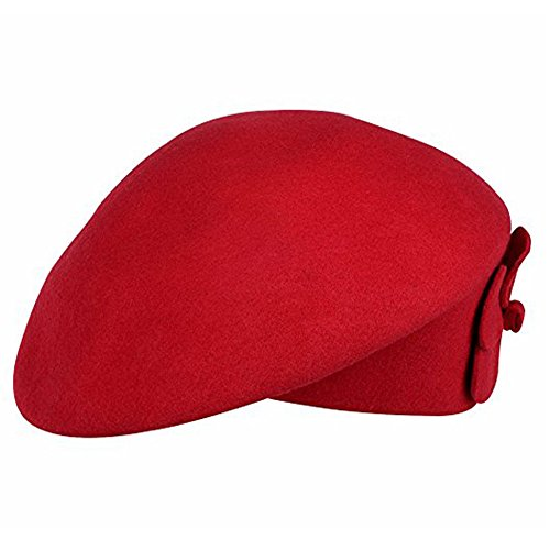 Femme Béret Chapeau de Feutre Elégante Bonnet Fedora Chapeau en Laine Chaude Autumn&Hiver Rouge