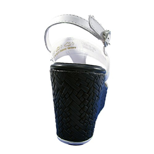 Tamaris–Sandali compensate in pelle donna Tamaris–28361–26–Sandali–36al 40 Bianco / Navy