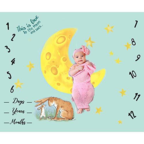 NROCF Baby monatliche Meilenstein Decke für Mädchen Jungen, Mond Sterne und Kaninchen für Babys Foto Bild Prop Hintergrund, Falten oder verblassen -