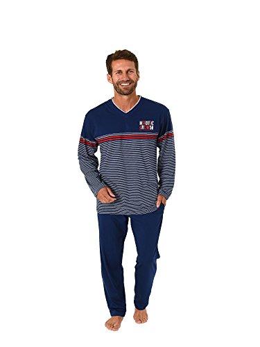 Herren Pyjama Schlafanzug Langarm Streifenoptik - auch in Übergrössen - 181 101 90 514, Größe2:56, Farbe:rot