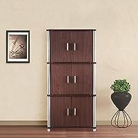 HomeTown Jacob Engineered Wood Multipurpose Cabinet in Cherry Brown & Walnut Colour
