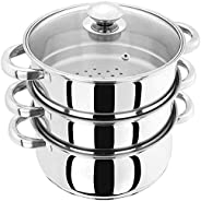 Professional Induction-Safe Stainless Steel 3 Tier Steamer Set - The Healthy Way to Cook Your Veg - Sturdy Ste