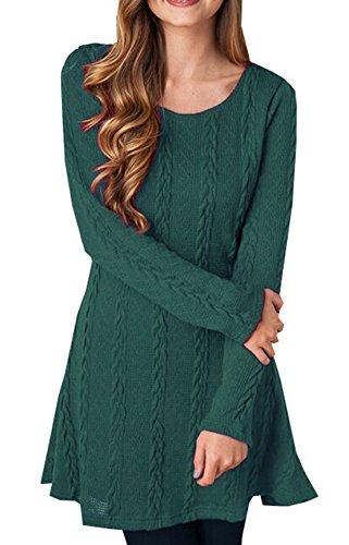 Donna Invernali Casual Tunica Mini Abito Tinta Unita Maglione Manica Lunga Jumper Semplice Maglia Vestito Ragazza Maglieria Pullover Magliette Tumblr Po verde