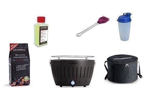 LotusGrill Kit débutant 1x anthracite 1x charbon de bois du livre 1kg, 1x Pâte brûlante 200ml, 1x Marinierpinsel violet prune, 1x Shaker sauce, 1x sac transport - Le raucharme Barbecue/barbecue