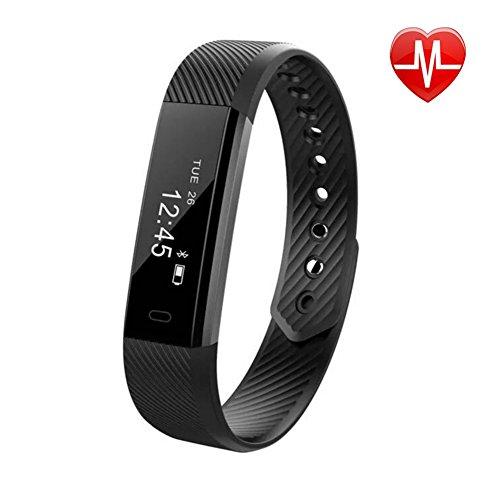 Pulsera Actividad, AbandFit Pulsera Inteligente Impermeable Fitness Tracker con Pulsómetros/ Contador de Calorias/Monitor de Sueño/Contador de Pasos/Reloj para Android iOS