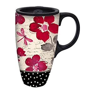Red Poppy Flower Symphony Ceramic Travel Mug With Gift Box