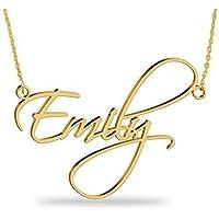 18k Chapado en oro-Hechos a mano nombre collar-Personalizado con cualquier nombre