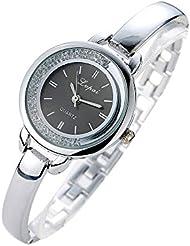 Montres bracelet Covermason Mesdames les femmes Unisex acier inoxydable strass Quartz montre-bracelet